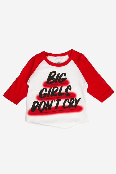 kids Baron Von Fancy Big Girls Don't Cry Raglan top - White/Red