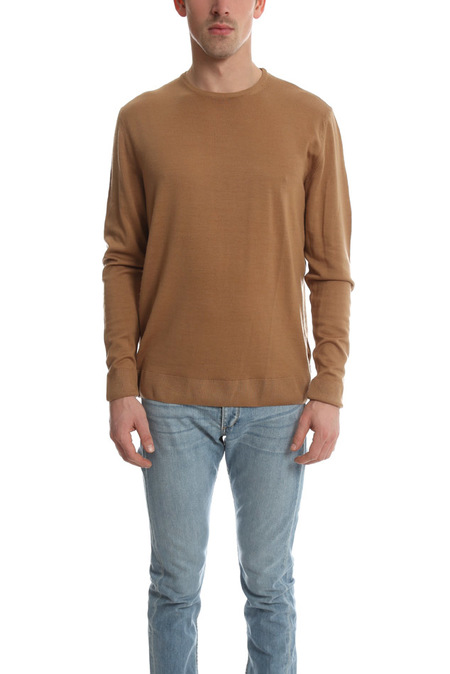 Sunspel Wool Crewneck Jumper Sweater - Camel