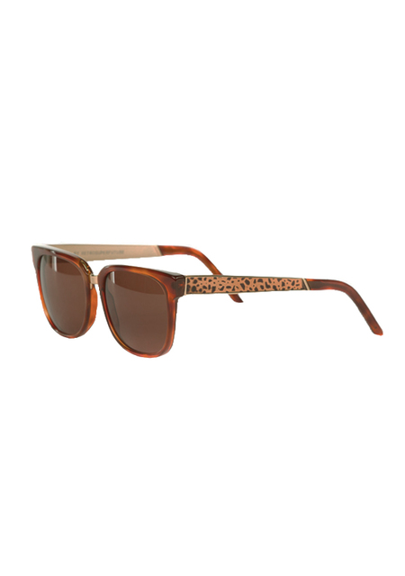 UNISEX RETROSUPERFUTURE People Francis Leopard Sunglasses - Brown/Gold