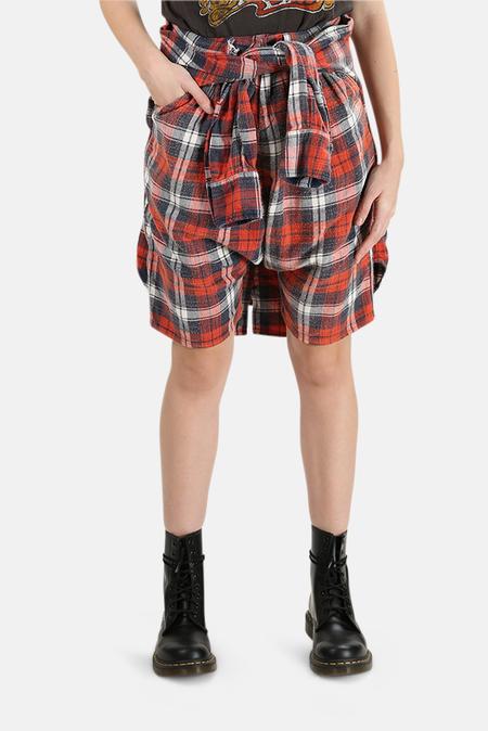 Blue&Cream R13 Vedder Shorts - Red/Blue Plaid