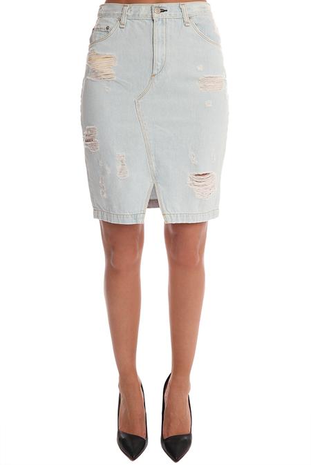 Rag & Bone JEAN Denim Skirt Shredded - Shred Norte