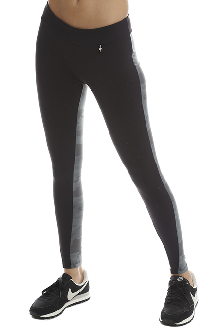 Monrow Seamed Camo Legging - Grey Camo /Black