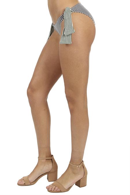 Solid & Striped The Mackenzie Bottom Swimwear - Navy/Green Seersucker