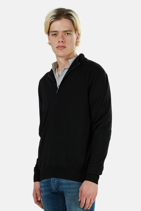 Paul and Shark Mock Neck Half Zip Sweater - Navy