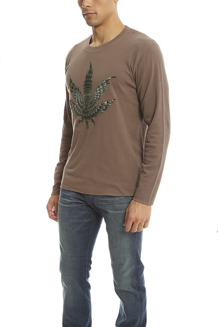 Lucien Pellat-Finet Embroidered Leaf T-Shirt - Brown