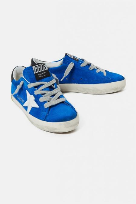 Kids Golden Goose Toddler Superstar Sneaker Shoes - Blue/White