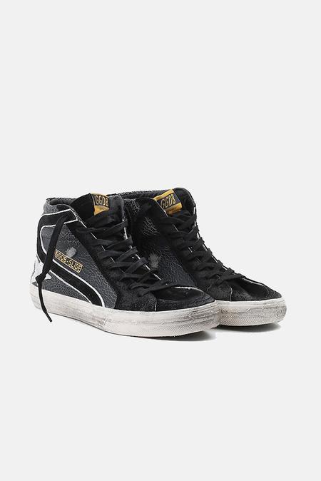 Golden Goose Slide Sneaker Shoes - Black Crack/White
