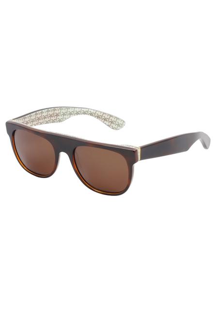 RetroSuperFuture Flat Top Palm Sunglasses - Brown/Beige