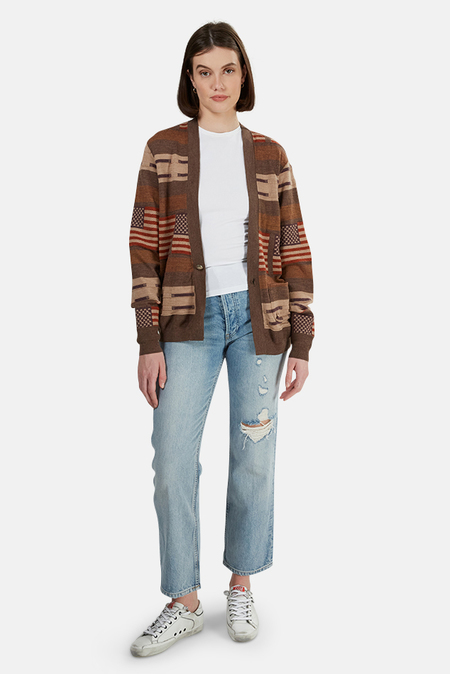 Remi Relief Wool Native Boarder Cardigan Sweater - Brown