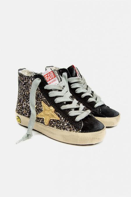 Golden Goose Kids Francy Sneaker Shoes - Black/Gold Glitter