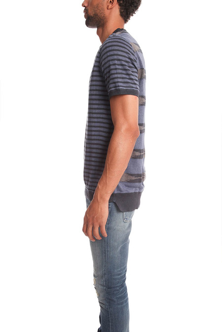 Remi Relief Linen Boarder Native Crew Top - Navy stripes
