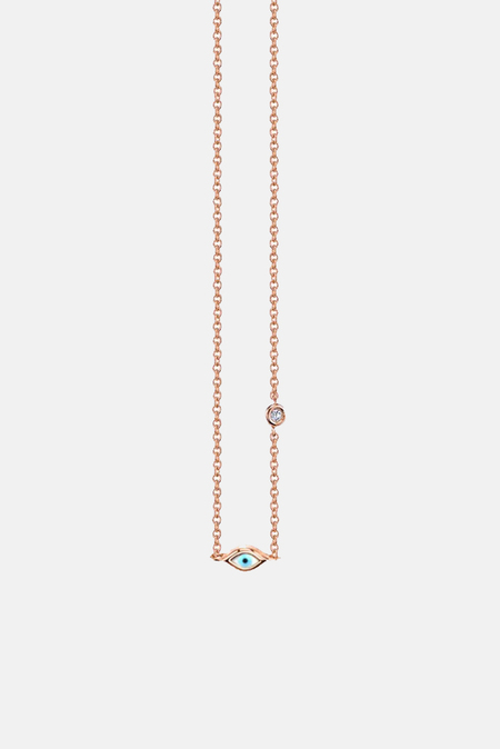 Sydney Evan Mini Enamel Evil Eye Necklace With Bezel-Set Diamond - 14k rose-gold