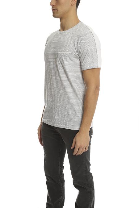 Rag & Bone Garment Striped Pocket Classic T-Shirt - White/Blue