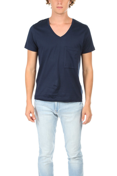 Simon Spurr Supima V Neck Tee - Navy