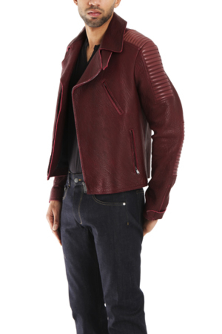 Simon Spurr Leather Biker Jacket - Red