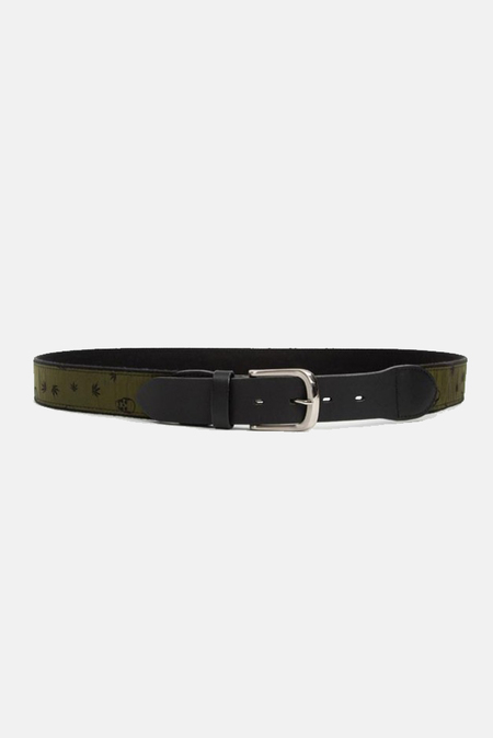 Men's Lucien Pellat-Finet Monogram Leather Belt - Olive/Black