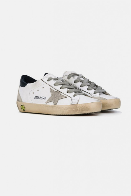Kids Golden Goose Superstar Sneaker Shoes - White/Blue