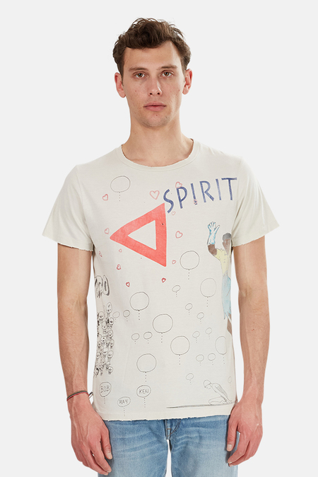 Remi Relief Vintage Scribble Tee Shirt - Off White