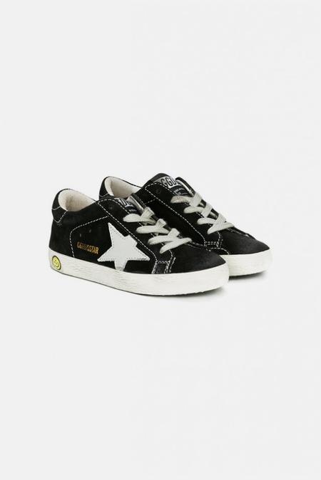 Kids Golden Goose Superstar Sneaker Shoes - Black Suede