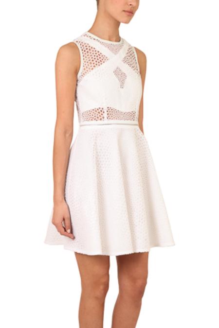 YIGAL AZROUEL Optic Eyelet Dress - Optic White