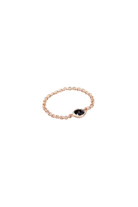 GRACELETTE NYC Rose Chain Ring - 18 K Rose Gold Plated