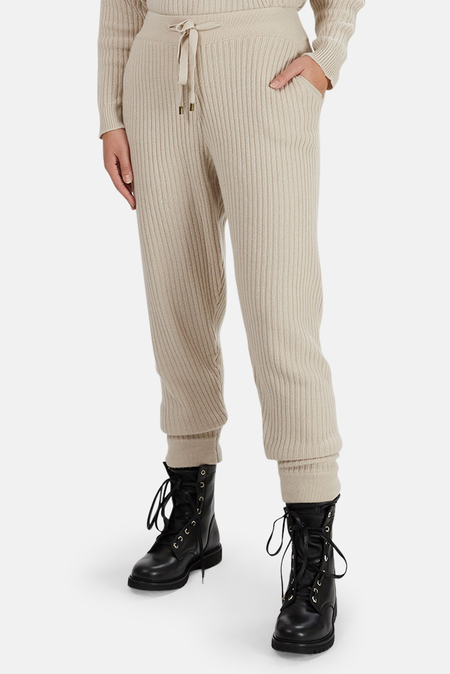 The Tile Club Florence Ribbed Cashmere Pants - Cream