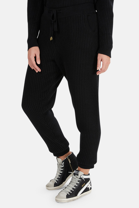 The Tile Club Florence Ribbed Cashmere Pants - Black