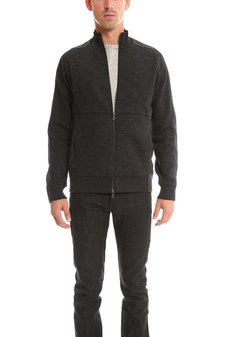 Vince Piece Dyed Fleece Track Jacket - Black