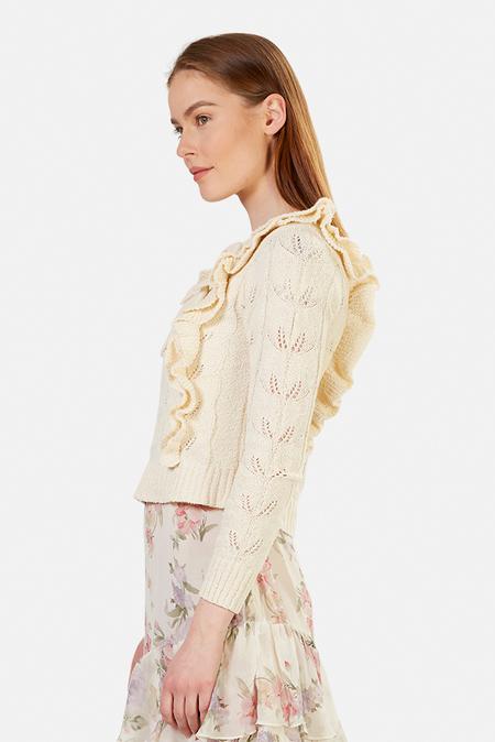 LoveShackFancy Kennie Pullover Knit Sweater - Cream