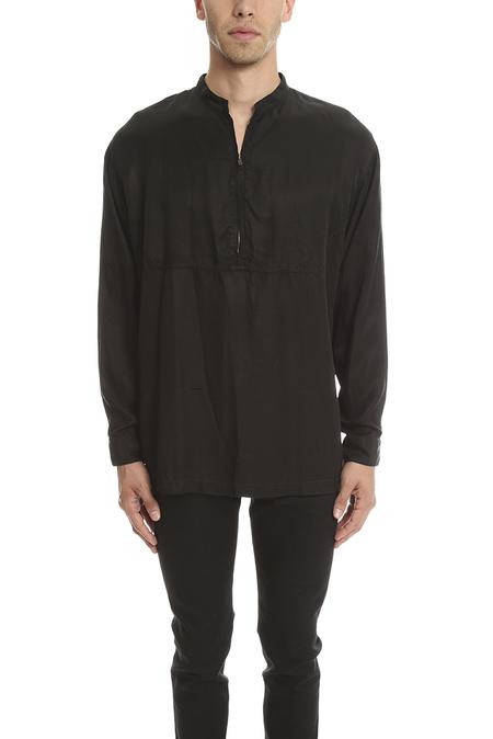 Robert Geller Cupro Zipper Shirt - Black