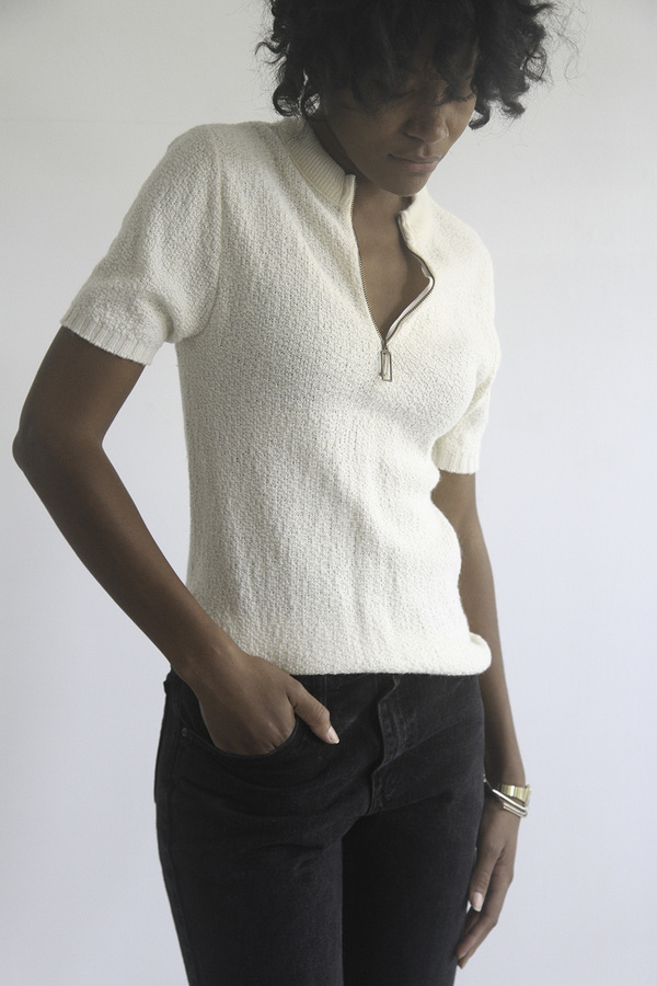 The Shudio Vintage Cream Sportknit Zippered Tee