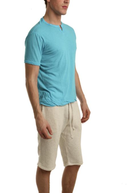 V :: ROOM Slit Neck T-Shirt - Cyan