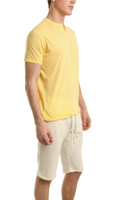 V :: ROOM Slit Neck T-Shirt - Yellow