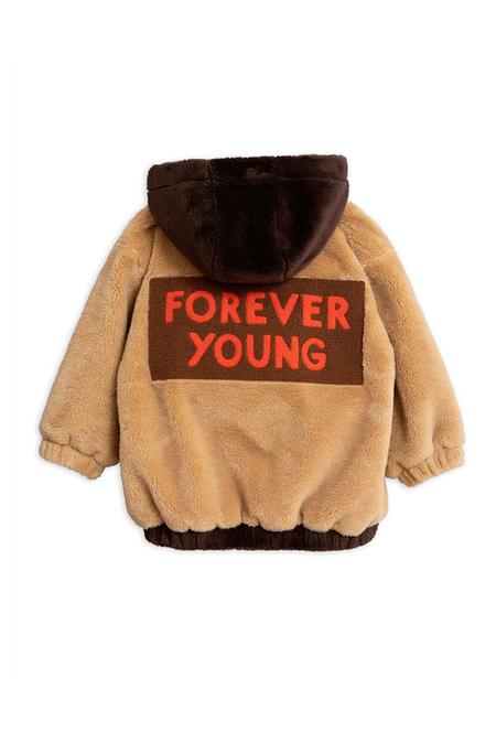 Kids Mini Rodini Faux Fur Hooded Jacket - Beige