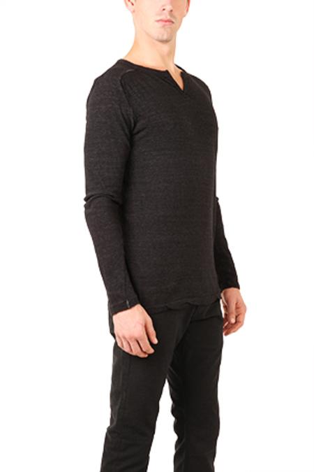 V::Room Melange Slit Shirt - Black
