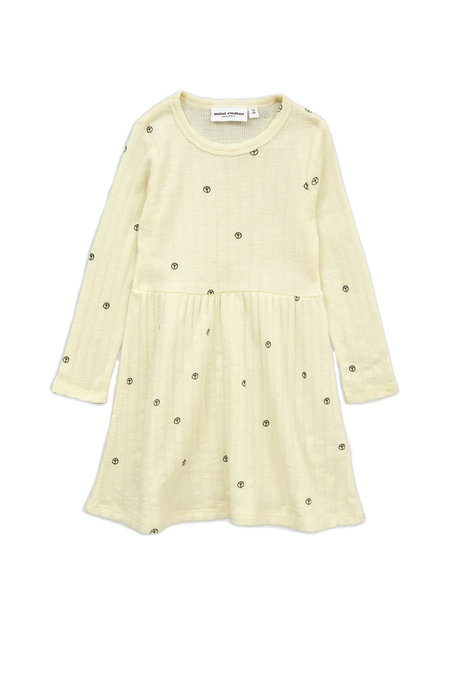 Kids Mini Rodini Peace Pointelle Merino Dress - Off White
