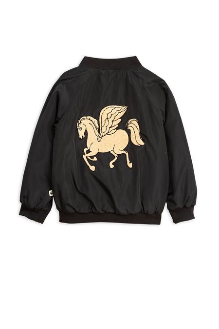 Kids Mini Rodini Pegasus Baseball Jacket - Black