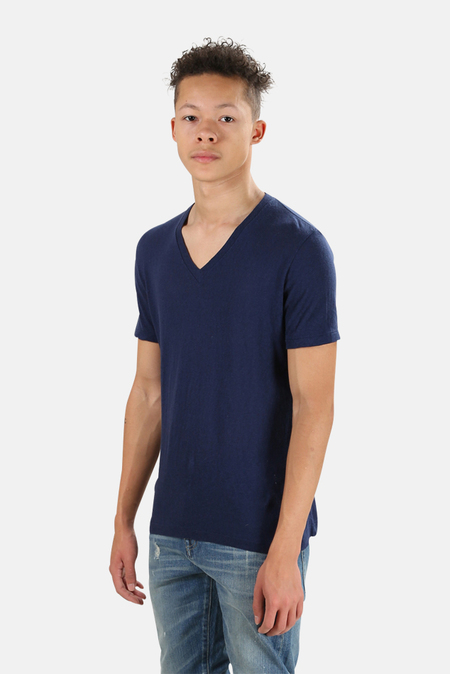 V::Room Short Sleeve V Neck Cash T-Shirt - Navy