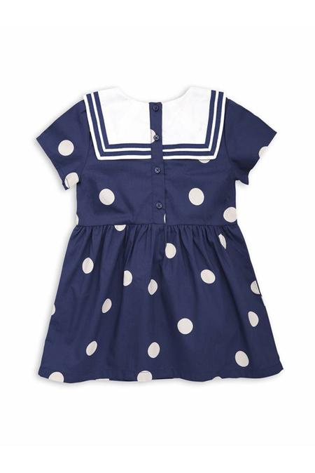 Kids Mini Rodini Dot Woven Sailor Dress - Navy