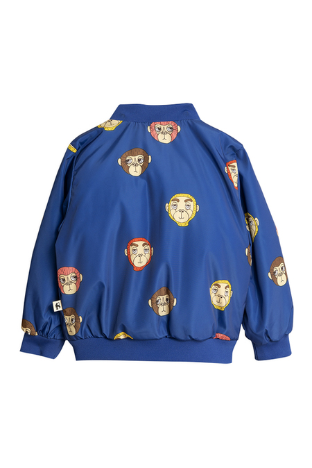 Kids Mini Rodini Monkey Baseball Jacket - Blue