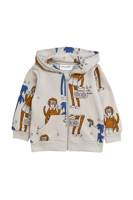 Kids Mini Rodini Cool Monkey Zip Hoodie Top - Grey