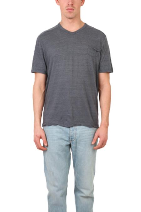 V::ROOM Melange V Neck Tee Shirt - Charcoal