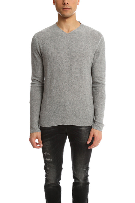 Hannes Roether V Neck Waffle Sweater - Grey