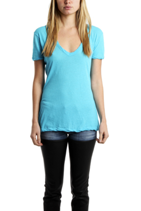 V::ROOM Short Sleeve Scoop Neck Tee Shirt - Brilliant Cyan