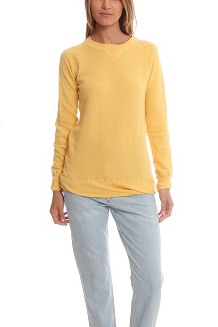 V::Room Gauze Long Sleeve Fleece Crewneck Sweater - Mustard
