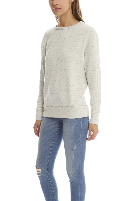 V::Room Heather Fleece Crewneck Sweater - Greyish Cream