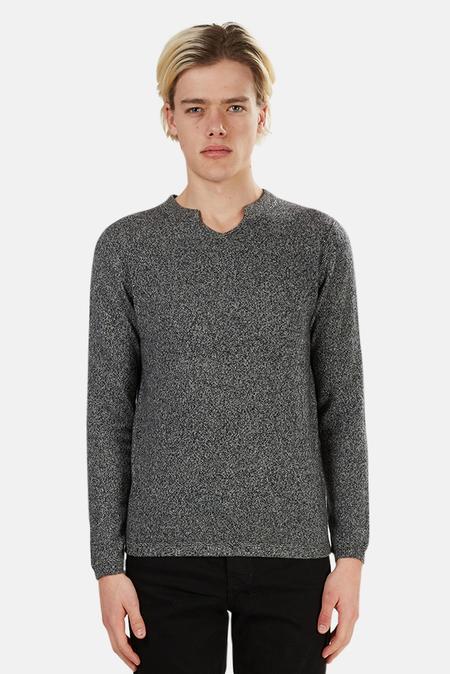 Blue&Cream Cashmere Modified V-neck Sweater - Salt 'n Pepper