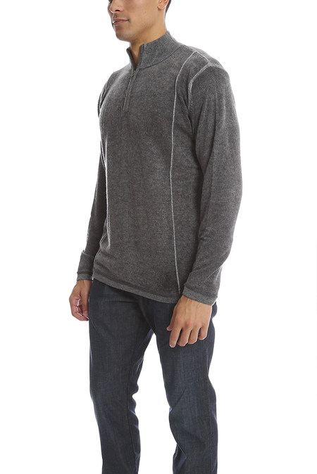 Blue&Cream Inked 1/4 Zip Pullover Sweater - Bankers Grey