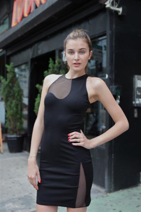 Alexander Wang Slim Dress w/Netting Cutout Detail - Black