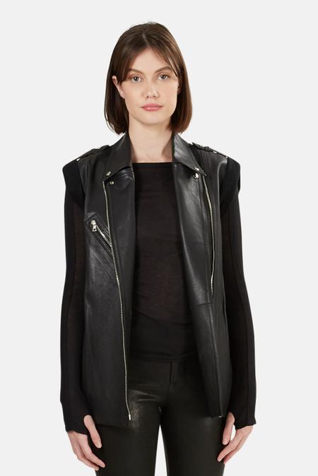 Alexander Wang Leather Motorcycle Vest - Black